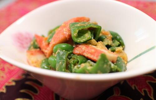 今日のキムチ料理レシピ:ピーマンのキムチ味噌和え