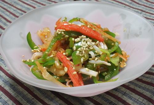 今日のキムチ料理レシピ:ピーマンのキムチ和え
