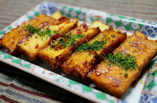 今日のキムチ料理レシピ:厚揚げのピリ甘辛焼き