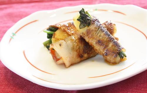 ポテトとほうれん草のキムチ肉巻きレシピ