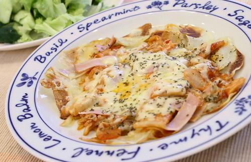 今日のキムチ料理レシピ: ジャガイモのキムチピザ