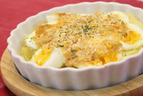 今日のキムチ料理レシピ:ポテトと卵のキムチマヨ焼き