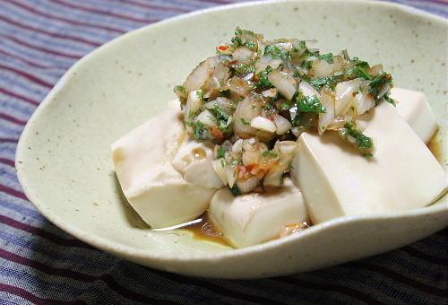 今日のキムチ料理レシピ:豆腐のキムチらっきょうだれ