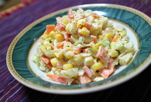 今日のキムチ料理レシピ:キムチらっきょう入りコールスローサラダ