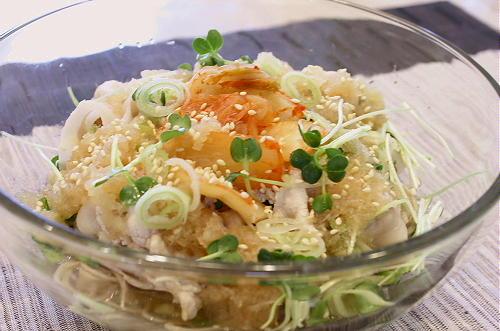 今日のキムチ料理レシピ:豚しゃぶキムチの冷しそば