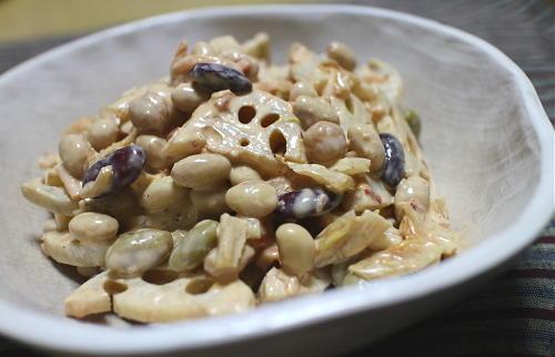 今日のキムチ料理レシピ:レンコンとミックスビーンズのキムチサラダ