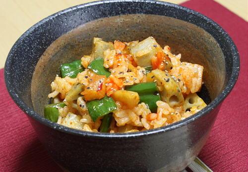 レンコンと大根キムチの混ぜご飯レシピ