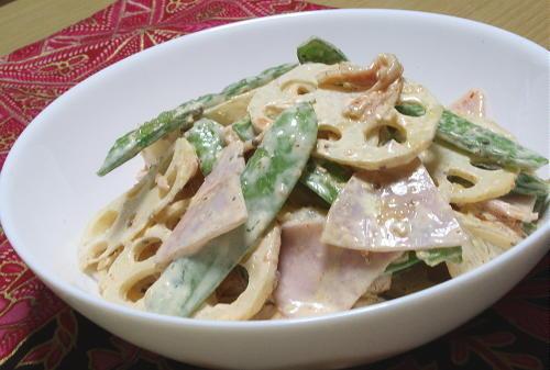 今日のキムチ料理レシピ:レンコンと絹さやのキムマヨサラダ