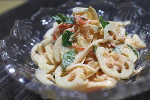 今日のキムチレシピ:レンコンのキムチマヨサラダ