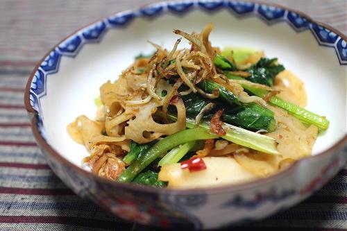今日のキムチ料理レシピ:小松菜とレンコンのキムチ和え