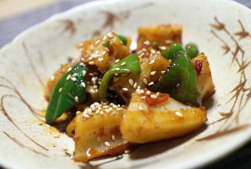 今日のキムチ料理レシピ:レンコンとピーマンピリ辛炒め