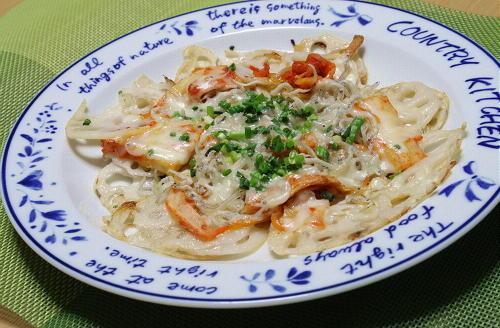 今日のキムチ料理レシピ:レンコンのキムチピザ