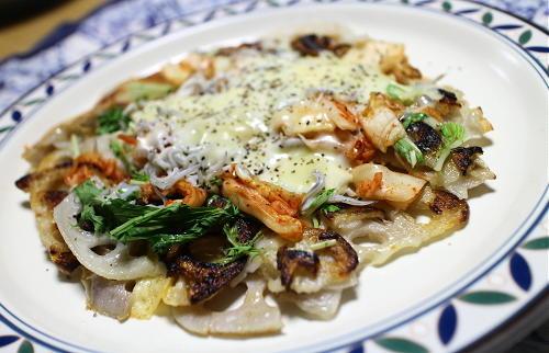 今日のキムチ料理レシピ:レンコンのキムチチーズ焼き