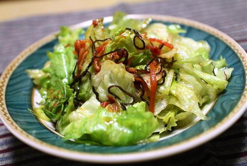 今日のキムチ料理レシピ:レタスのピリ辛塩昆布和え