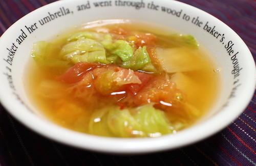 今日のキムチレシピ:トマトとレタスのキムチスープ