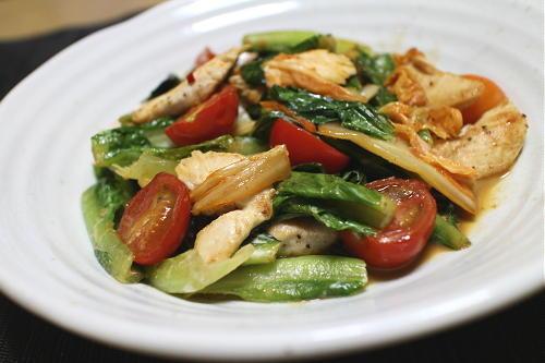今日のキムチ料理レシピ:ロメインレタスとキムチのマヨ炒め