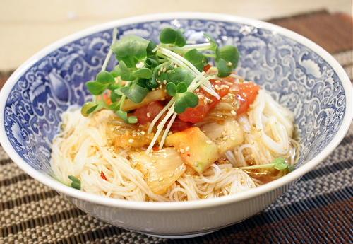 今日のキムチ料理レシピ:サラダキムチそうめん