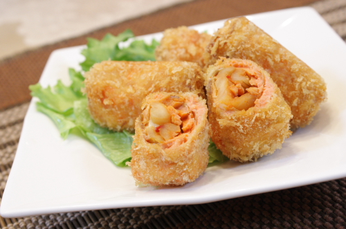 今日のキムチ料理レシピ:サーモンと割干しキムチカツ