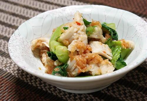 今日のキムチ料理レシピ:小松菜とささみのキムチおろし和え