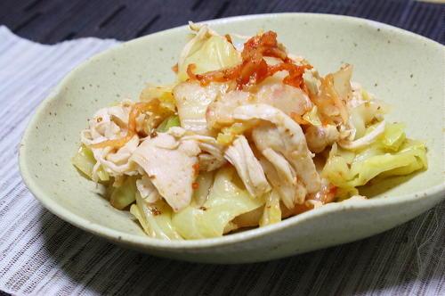 今日のキムチ料理レシピ:鶏ささみとキャベツのキムチ和え