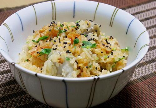 今日のキムチ料理レシピ:里芋とホタテとキムチの炊き込みご飯