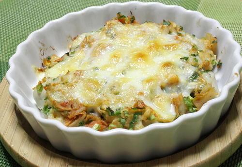 今日のキムチ料理レシピ:牡蠣と里芋のキムチ味噌グラタン