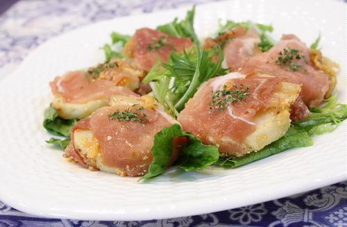 今日のキムチ料理レシピ:里芋とキムチの生ハム巻き