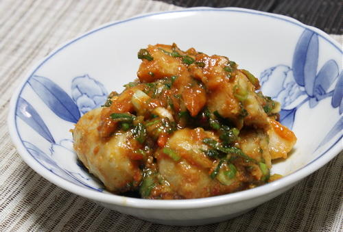 今日のキムチ料理レシピ:里芋のピリ辛ねぎ味噌和え
