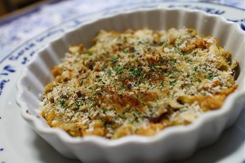 今日のキムチ料理レシピ:サツマイモとキムチのパン粉焼き