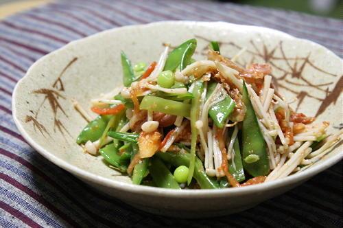 今日のキムチ料理レシピ:さやえんどうとキムチのポン酢醤油和え