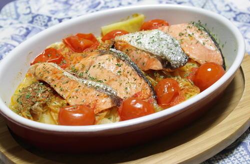 鮭とキムチのレンジ蒸し