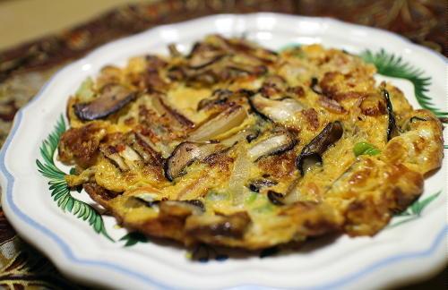 今日のキムチレシピ:椎茸とキムチの卵焼き
