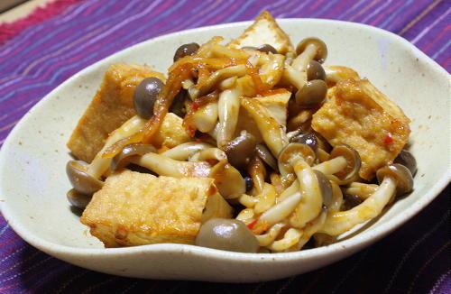 今日のキムチ料理レシピ:シメジと厚揚げのピリ辛煮