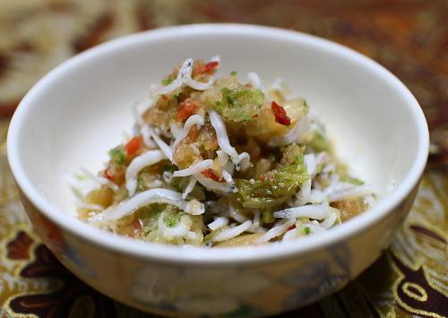 今日のキムチレシピ:シラスとキムチの胡瓜おろし和え