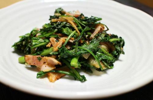 今日のキムチ料理レシピ:春菊のキムチ炒め