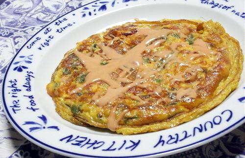 今日のキムチ料理レシピ:春菊とキムチのオムレツ