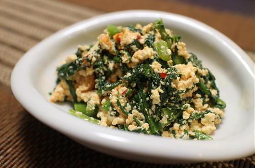 今日のキムチ料理レシピ:春菊のピリ辛白和え