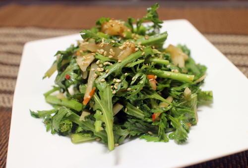 今日のキムチレシピ:春菊のザーサイキムチ和え