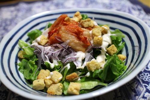 今日のキムチレシピ:キムチシーザーサラダ