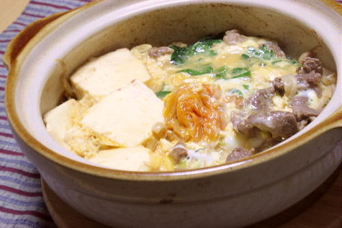 今日のキムチ料理レシピ:キムチすき焼き風卵とじ