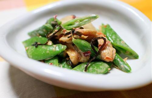 今日のキムチレシピ:スナップエンドウとキムチの塩昆布マヨ和え