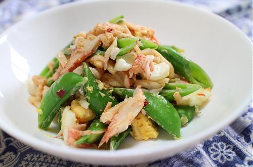 今日のキムチ料理レシピ:スナップエンドウの春色キムチマヨ和え