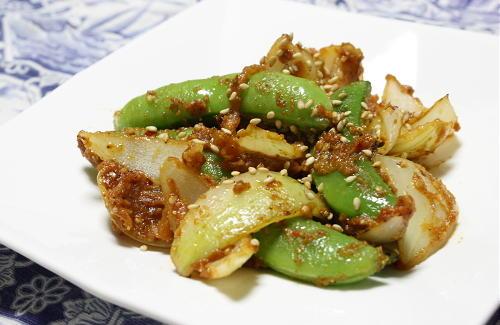 今日のキムチ料理レシピ:スナップエンドウのピリ辛味噌炒め