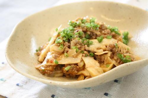 今日のキムチ料理レシピ:たけのこのキムチひき肉炒め