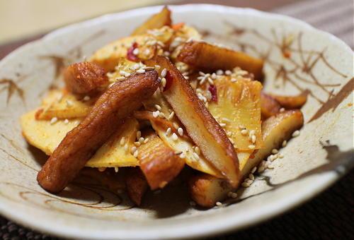 今日のキムチ料理レシピ:竹の子とさつま揚げのピリ辛きんぴら