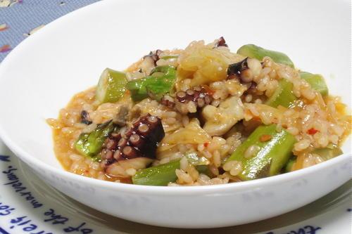 今日のキムチ料理レシピ:たことキムチのリゾット