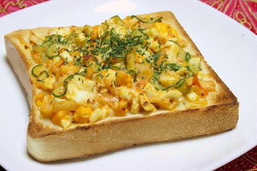 今日のキムチ料理レシピ:ゆで卵キムチトースト