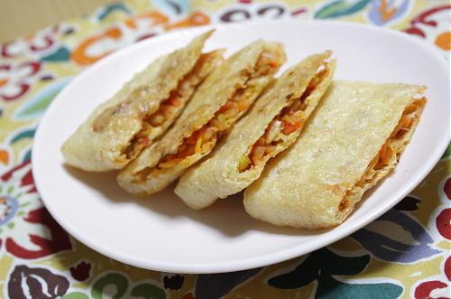 今日のキムチ料理レシピ:キムチ担々の油揚げ挟み焼き