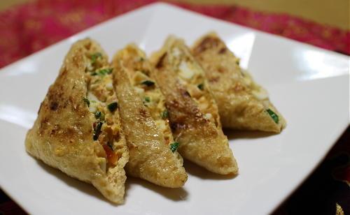 今日のキムチ料理レシピ:キムチとゆで卵のお揚げ焼き