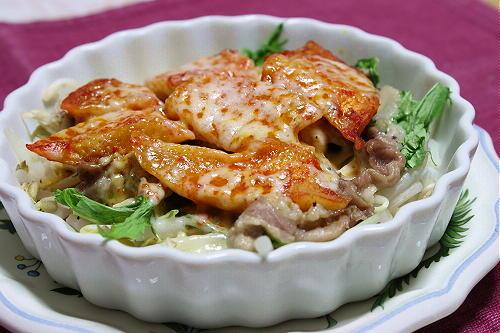 今日のキムチ料理レシピ:もやしと豚肉と特選カクテキのレンジ蒸し